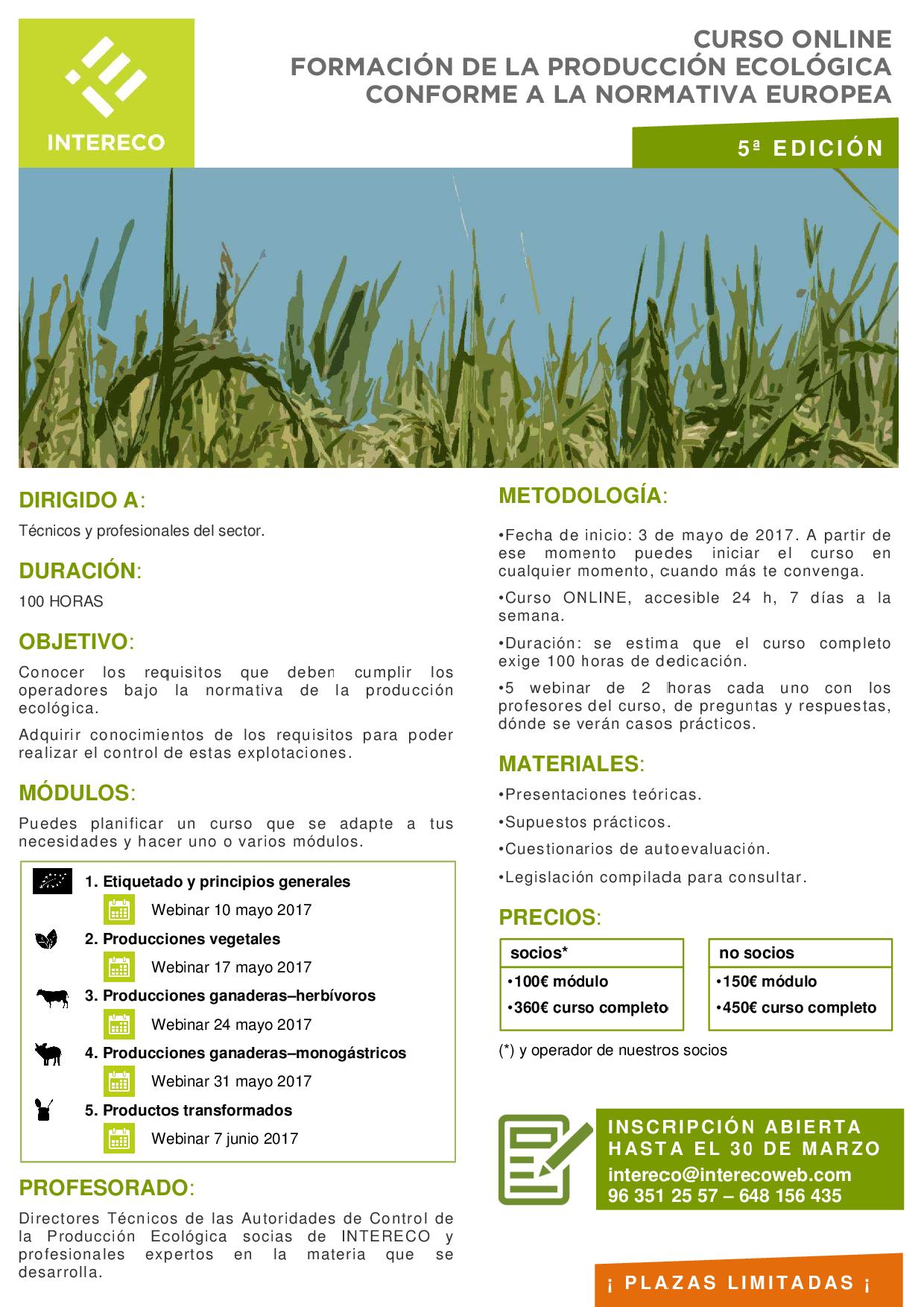 ¿Quieres formarte en el control de la producción ecológica?