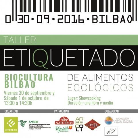 Cartel Taller de etiquetado Biocultura Bilbao