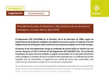 Circular CCPAE sobre importaciones de productos ecológicos de terceros